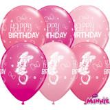 "Baloane latex 11""/28cm Minnie Mouse - Happy Birthday, Qualatex 18686, Set 25 buc"