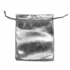 Săculeț din material pentru cadou de culoare lucioasă argintie, șnur