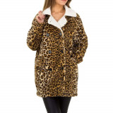 Pardesiu cu aspect plusat si imprimeu leopard, Bej, L, M, S