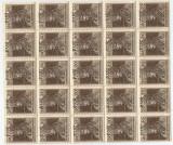 Romania, Em. Cluj, LP 8c/1919, Carol si Zita, bloc de 25 timbre, sup. depl., MNH