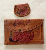 Doua portofele de dama din piele naturala decoratiuni grecesti, Coniac, Portofel