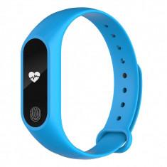 Bratara fitness inteligenta M2 cu masurarea tensiunii arteriale, Ritm cardiac, Pedometru, Bluetooth, IP67, Albastra