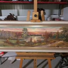 Tablou ulei pe panza - Padurea si lacul, Peisaje, Realism