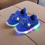 Adidasi albastri cu steluta alba si luminite (Marime Disponibila: Marimea 22)