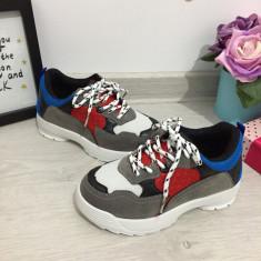 Adidasi colorati gri albastri rosii pentru copii baieti / fete 29 30 31