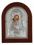 Icoana Argintata Maica Domnului Vladimir 7.5x9.5 cm Cod Produs 1655