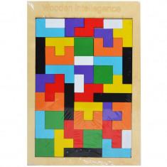 Puzzle incastru din lemn, forme geometrice, Tetris