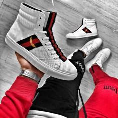 Sneakers pentru barbati, albi, casual, piele sintetica, peste glezna - BB518