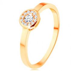 Inel de aur galben de 14K - cerc încrustat cu zirconii transparente, braţe netede, strălucitoare - Marime inel: 62