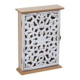 Cutie lemn pentru chei, 26 x 18 cm, 6 carlige, model floral, General