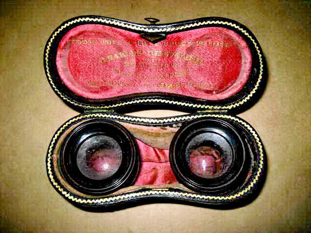 7955-Antic Charles Chevalier-Etui cu lentile obiectiv schimb binoclu alama.