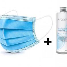 Set 50 buc Masca Protectie Respiratorie 3 straturi + Solutie igienizanta pentru maini 250ml
