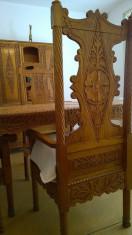 Set unic, sufragerie stejar sculptat, 8 piese, realizat in atelier din Bucovina foto