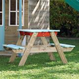 Masuta de picnic cu bancute din lemn vopsit Tp Toys