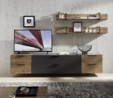 Set de mobila living din pal si MDF, 5 piese Madeline Large Havel Oak Cognac / Grafit