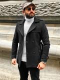 Palton negru de iarnă două rânduri de nasturi guler înalt Bolf 0009