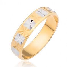 Inel lucios - auriu cu dreptunghiuri argintii cu tăietură de diamant - Marime inel: 51