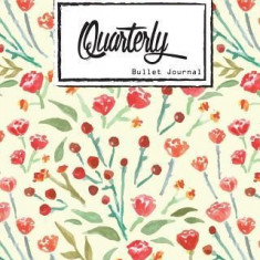 "Bullet Journal: Dot Grid, Quarterly Guided, Watercolor with Red Flowers, Notebook, 8"""" X 10,"""" 90 Page: Small Journal Notebook Diary for"