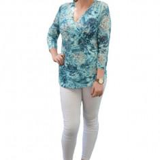 Bluza casual turcoaz, model rafinat, cu decolteu frumos suprapus