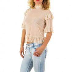 Bluza usor transparenta, de culoare bej, cu maneci scurte, L, M, S