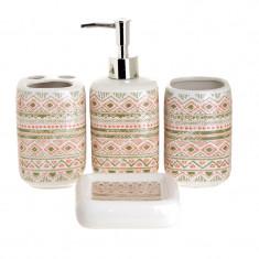 Set 4 piese pentru baie din ceramica cu model maro cu roz 25,5 21,5 8 cm