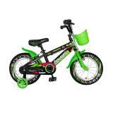 Bicicleta pentru copii Rich Baby, 14 inch, frane C-Brake, roti ajutatoare cu LED, maxim 30 kg, 3-5 ani, Verde/Negru, General