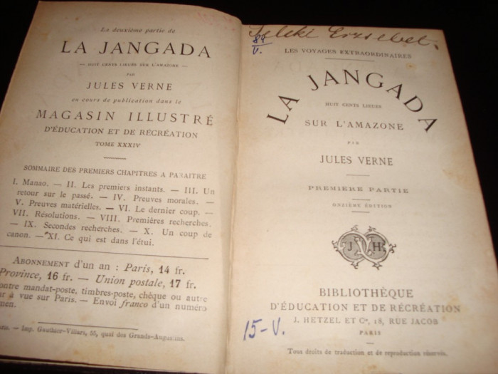 Jules Verne - La Jangada(800 de leghe pe Amazon) vol 1- in franceza - ed.Hetzel