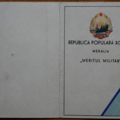 Legitimatie Medalia Meritul Militar clasa a II - a , 1952