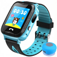 Ceas GPS Copii iUni Kid6, Touchscreen, Telefon incorporat, BT, Camera 2MP, Buton SOS, Rezistent la apa, Albastru + Boxa Cadou