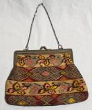 Obiect vechi colectie anii 1930 Poseta catifea cu lucratura manuala &rama metal