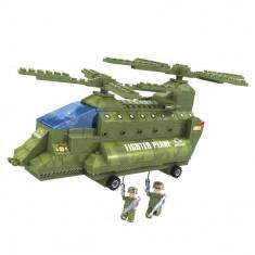 Set cuburi lego model elicopter militar,308 piese, verde
