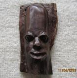 Sculptura veche in lemn de Mpingo(Dalbergia Melanoxylon).Cap de barbat.H 12cm.