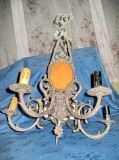 6166-Set Candelabru cu 2 aplice mari cu Fauni bronz argintat ornamentatie bogata