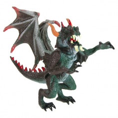 Figurina de jucarie pentru copii, model dragon cu aripi si coarne negru, 14x8x13 cm