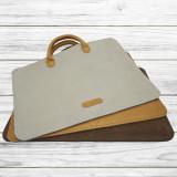 Husa tip geanta slim Gri din piele naturala, pentru Macbook 13″ & 15.6″