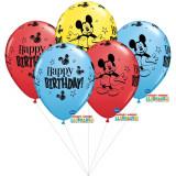 Buchet din baloane latex asortate Mickey Mouse cu heliu, Qualatex BB 18704
