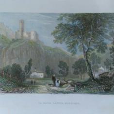 Gravura veche W.H. Bartlett - La Batia Castle Martigny