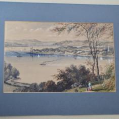 Peisaj veche acuarela cca 1850