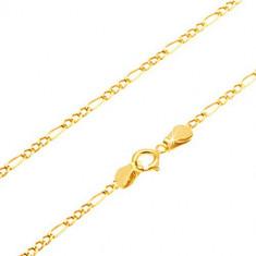 Lanţ din aur galben 14K - trei ochiuri mici şi un ochi alungit, 550 mm