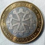 10 EURO 1998,JETON  BIMETAL, FRNATA TOULOUSE, CAMPIONATUL MONDIAL DE FOTBAL !!