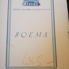 "Caiet program ""Boema"", Teatrul de Opera si Balet RPR, autograf L. Spiess, 1968"