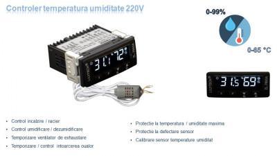Controler temperatura umiditate termostat higrostat electronic incubator 220V foto