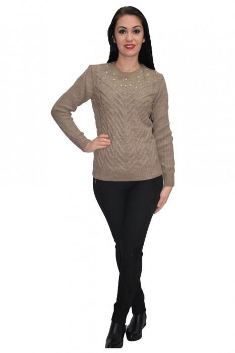 Bluza din lana tricotata cu aplicatii de margene,nuanta maro