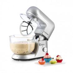 Klarstein BELLA ARGENTEA 2G, robot de bucătărie, 1200 W, 2,5/5,2 L, vas de sticlă, culoare arigintie
