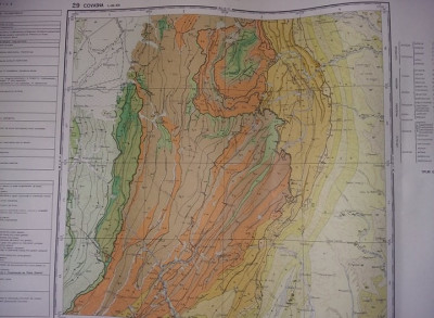 Plansa/harta geologica a republicii socialiste romania,COVASNA 1968,T.GRATUIT foto