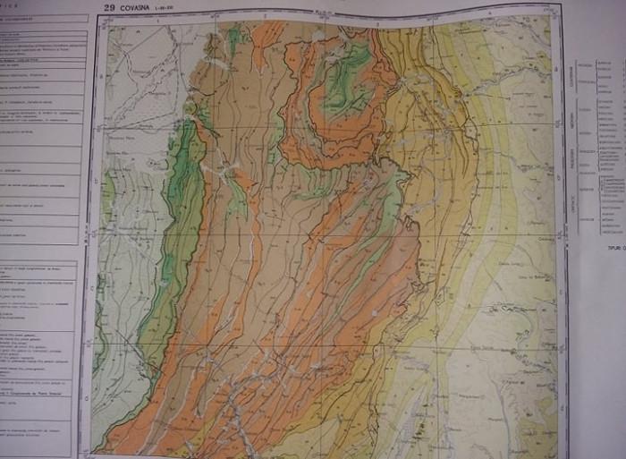 Plansa/harta geologica a republicii socialiste romania,COVASNA 1968,T.GRATUIT