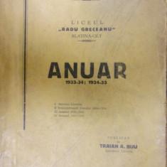 LICEUL RADU GRECEANU SLATINA - OLT . ANUAR 1933-34 / 1934-35
