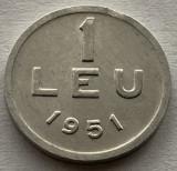 1 Leu 1951 Al, Romania, a UNC, Luciu de batere