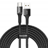 Cumpara ieftin Cablu de date/incarcare Baseus, Halo Durable Nylon Braided, Type-C 3M, 2 A, Negru