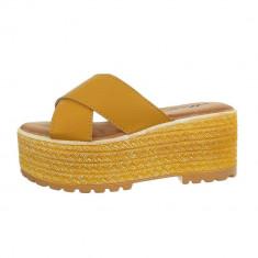 Papuci trendy, galbeni, cu platforma, 38 - 40, Galben